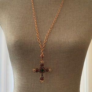 Jewelry - NWOT Copper Tone Jewel Encrusted Cross Necklace